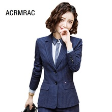 Women suits Slim spring stripe Blazers Pants 2-piece set OL Formal Business pants Woman 9819