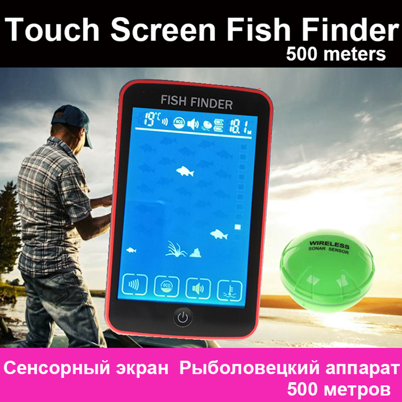 Free Shipping! Touch Screen 500 Meters Wireless Fish Finder Sonar Sensor Transducer Depth Echo Sounder Recharged Battery portable fish finder bluetooth wireless echo sounder underwater bluetooth sea lake smart hd sonar sensor depth