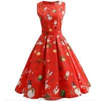 Merry Christmas Ladies Swing Flared Dress Santa Snowman Reindeer Vintage Style Party Dress Retro Swing Rockabilly Dresses