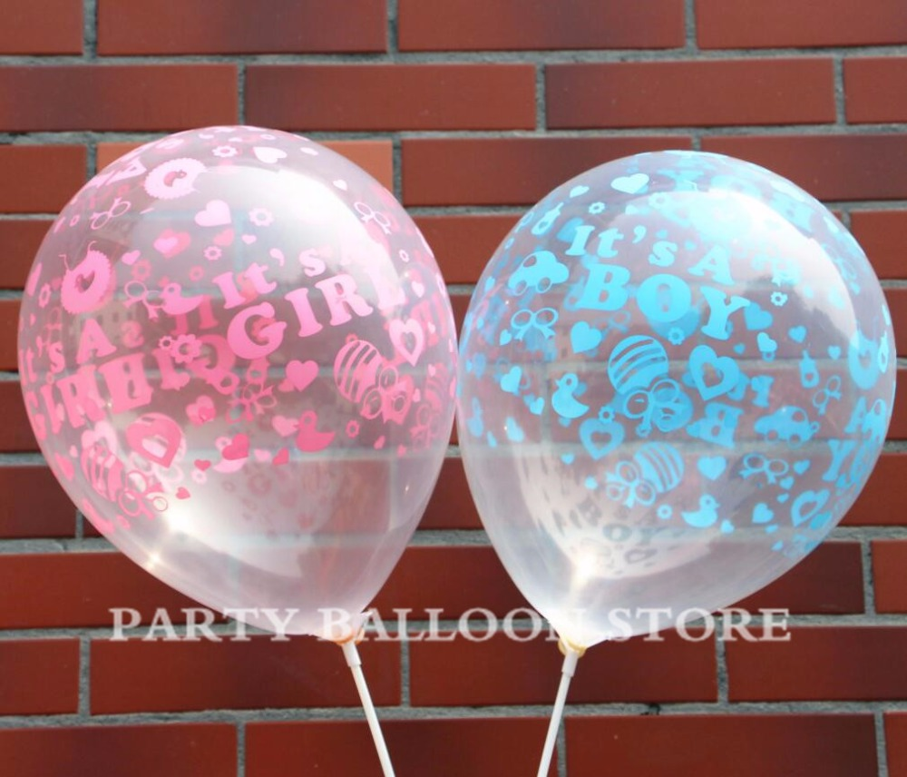 10pcs /lot Happy Birthday Decoration Ballon Clear Blue Pink Balloon Helium It Is A Boy Girl Baby 1st Birthday Latex Balloons Toy To Produce An Effect Toward Clear Vision Event & Party