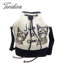 Teridiva frauen tasche spanisch leinwand eimer tasche handtasche mode retro frauen leinwand umhängetasche vintage print cat tasche weibliche bolso