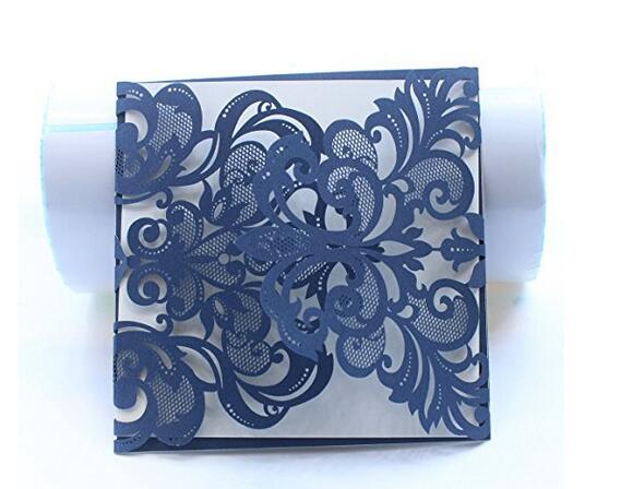 Luxury Laser Cut Navy Blue Lace Fl Wedding Invitation Invite Card Cover Only 50pcs