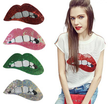 1pcs Red/gold/silver Sequins Lips Patches For Garment Accessories Embroidered Iron On Clothing DIY Motif Applique