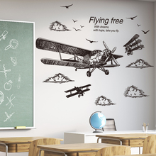 [shijuekongjian] Freehand Sketching Style Airplane Wall Stickers DIY Birds Mural Decals for Living Room Dormitory Decoration