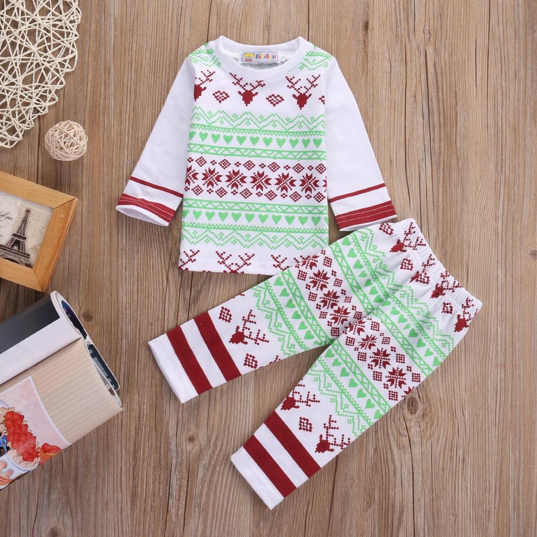 Newborn Baby Boys Girls Christmas Clothes Home Pajamas Nightwear Sleepwear 0-24M 2016 christmas suit 0 3y newborn toddler kids girls boys reindeer homewear nightwear sleepwear pajamas set 2pcs