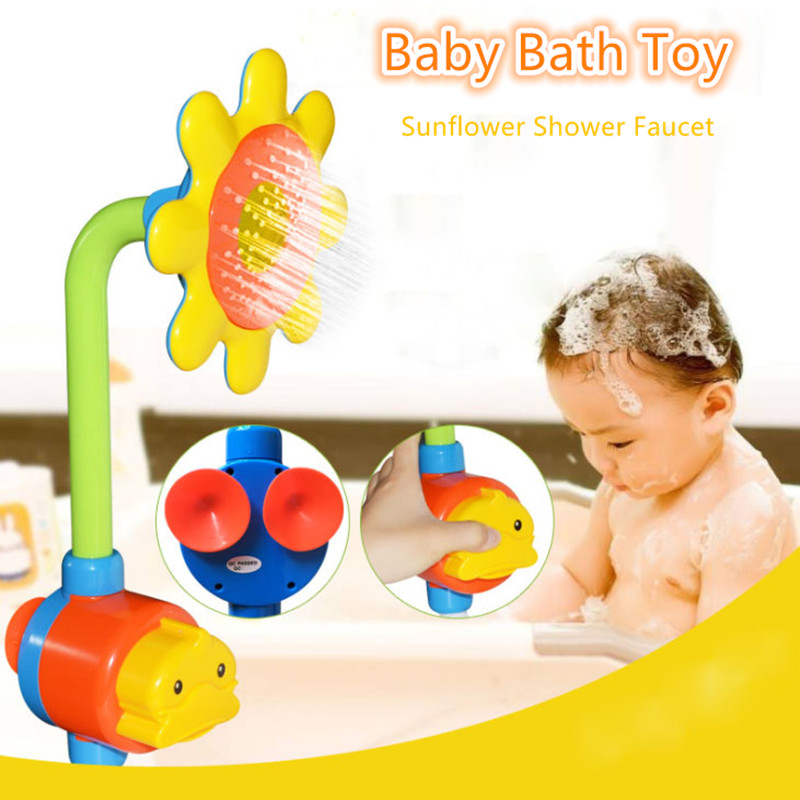 New Funny Baby Bath Toy Sunflower Shower Faucet Cute Cartoon Spray Water Shower Baby Bath Spout Children Swimming Bathroom Toy