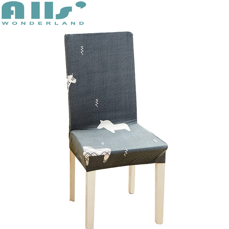 Grey Dining Room Chair Cover With Horse Pattern Spandex