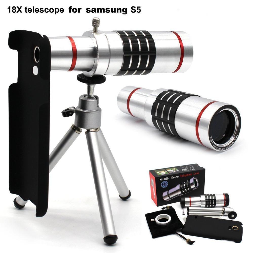 18X Zoom optique trépied télescope caméra téléobjectif Lente + S5 Neo étui pour samsung Galaxy S5 i9600/S 6 7 9 S8 Edge Plus