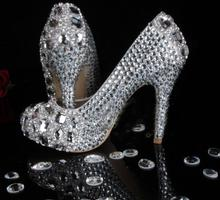 Luxury 11cm high heel Bridal Wedding Dress Shoes Bridesmaid Shoe Diamond  Party Prom Shoes Gorgeous Design Jeweled Women's shoes