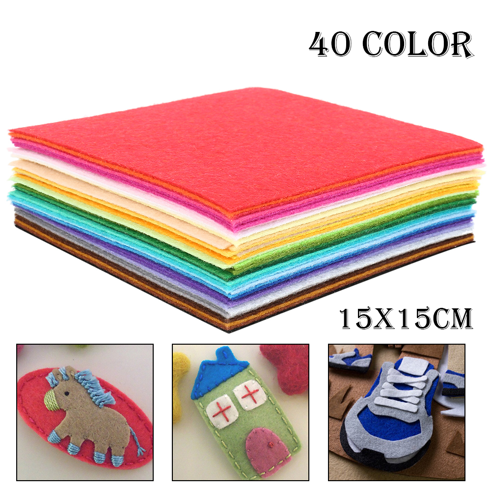 Nonwoven <font><b>Felt</b></font> Fabric/<font><b>1mm</b></font> Thickness/Polyester Cloth of Home Decoration Bundle for Sewing Dolls & Crafts/40pcs 15cm*15cm image