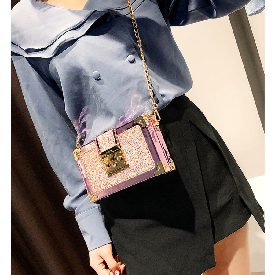 Fashion Gradient Color Sequins Crossbody Messenger Bag Luxury Chain Purse Mini Box Style Female Party Clutch Bag Shoulder Bags