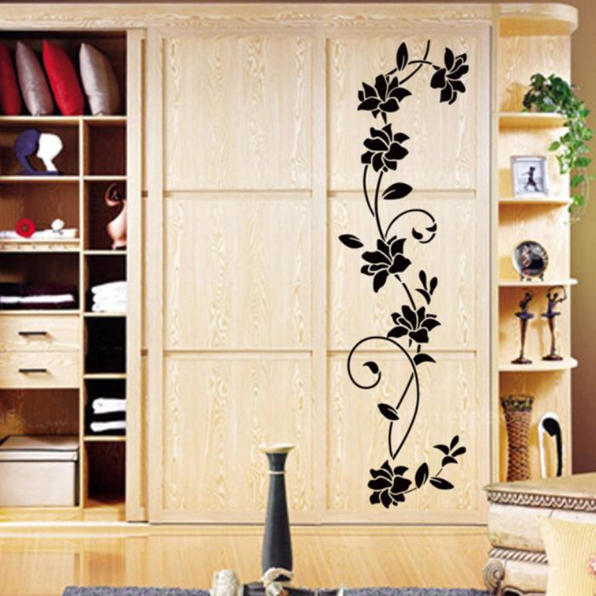 oujing 105x30cm new wall sticker flower vine decals black mural removable vinyl art home decor. Black Bedroom Furniture Sets. Home Design Ideas