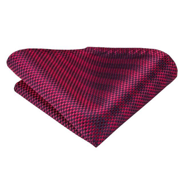 C-3122 Hi-Tie Luxury Silk Men Tie Striped Wine Red Necktie Handkerchief Cufflinks Set Fashion Men's Party Wedding Tie Set 8.5cm 4