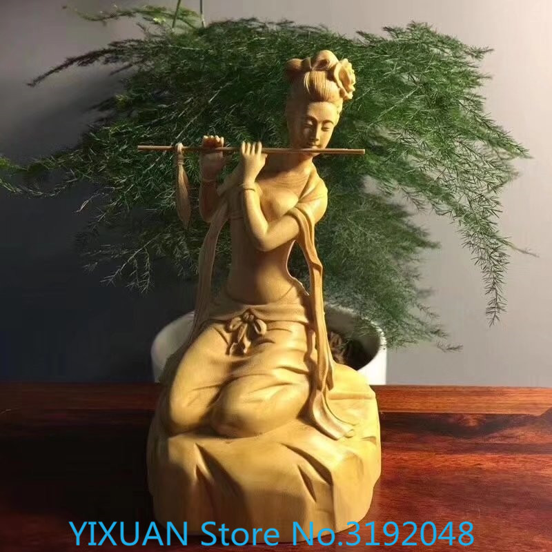 Boxwood Flute-Playing solid wood handicraft of ancient ladiescarved wooden ornaments Boxwood Flute-Playing solid wood handicraft of ancient ladiescarved wooden ornaments