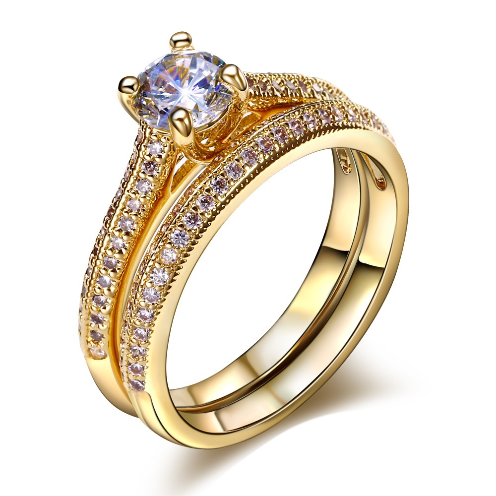 Engagement ring Promotion cubic zirconia wedding rings set for women