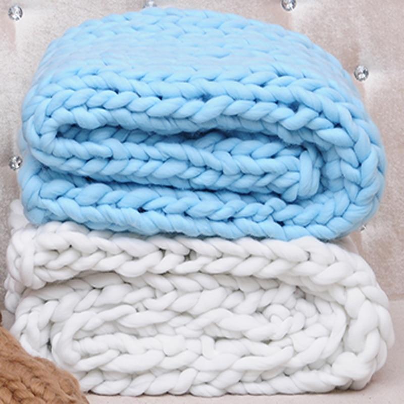 Manta de lana Merino hilo grueso voluminosos mantas de punto Plaid ...