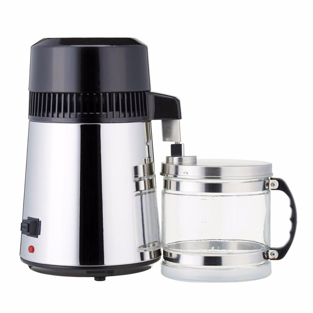 750W Stainless Steel Container Filter Distilled Water Device 4 Liters Capacity Pure Water Distiller Purifier with Glass Jar
