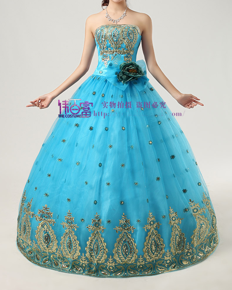 Free ship golden/blue/red sequins beading long medieval dress Renaissance Victorian Gothic Lol/Marie Antoinette Belle Ball
