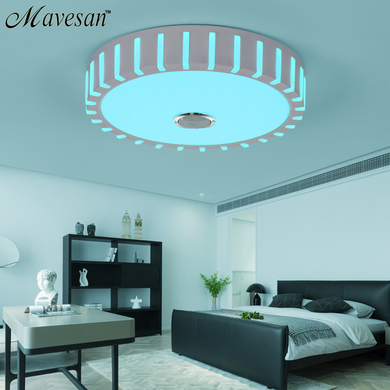 Luzes de teto modernas do diodo emissor de luz com controle bluetooth cor em mudança teto superfície montado luminária dero - 5