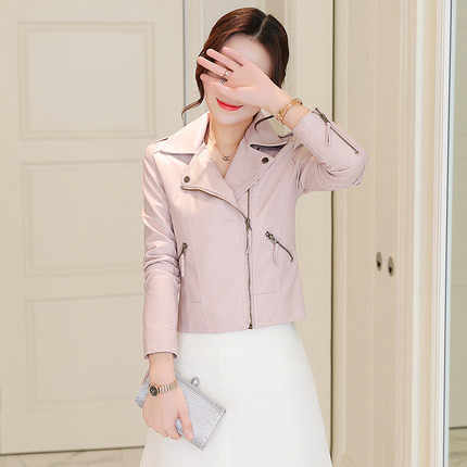 Kmetram 2018 мотоциклетная куртка из искусственной кожи Для женщин Демисезонный Новая мода розовое пальто Верхняя одежда на молнии куртка Chaqueta Mujer HH801