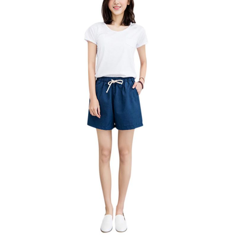 New Shorts Women 2018 Summer Hot Loose Linen Casual Thin Mid Candy