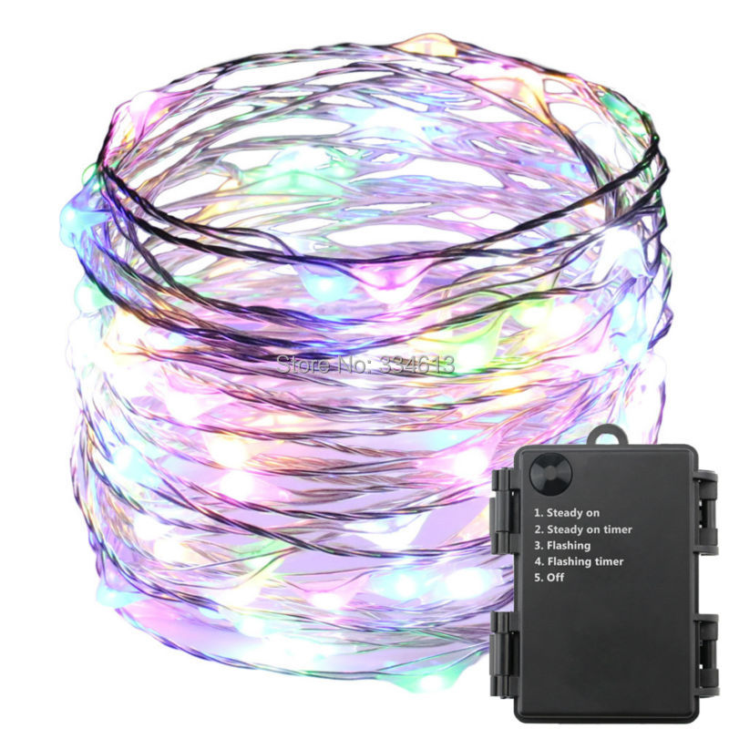 6AA Battery Powered 6M/20FT 120LEDs Waterproof 5Mode Silver Wire LED Starry String Lights, Indoor Outdoor Christmas Lights ...