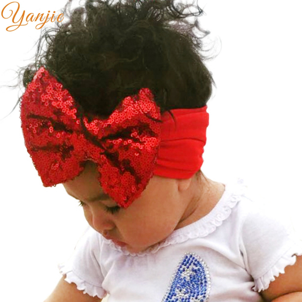 Infantile Girls Big Sequin Bow Headbands For Kids 2019 Solid Elastic Hair Band Large Gold Glitter Hair Bow Hair Accessories