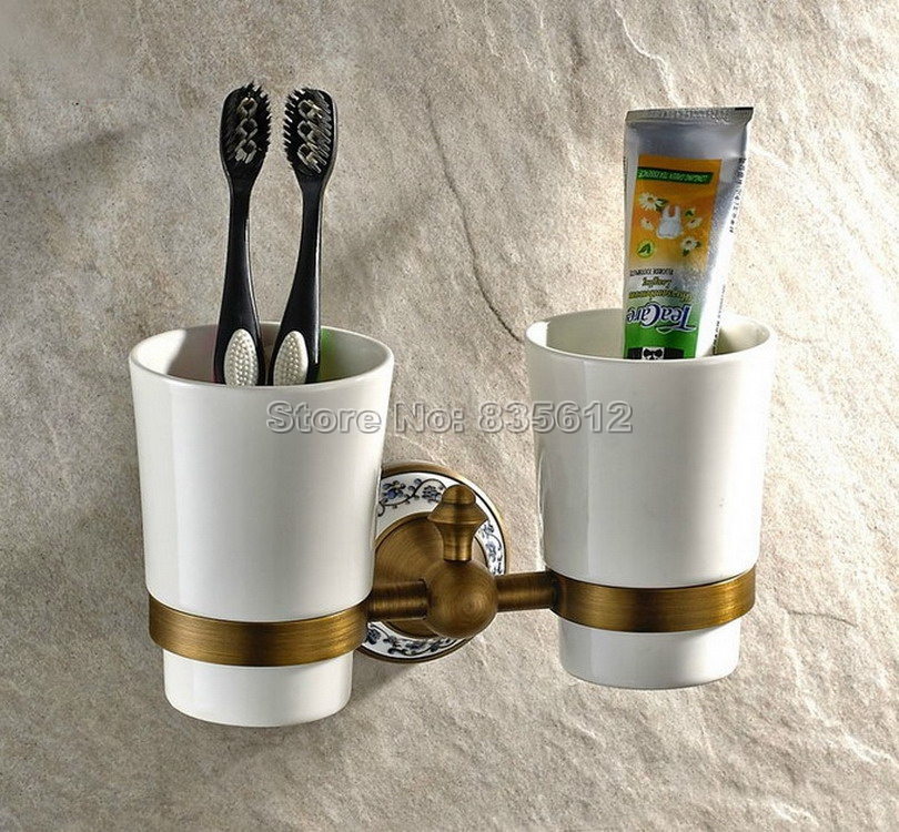 Antique Brass Wall Mounted Toothbrush Holder with Two Ceramic Cups Wba408 black oil rubbed bronze wall mounted toothbrush holder with two ceramic cups wba472