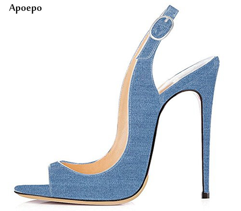 New Summer Newest High Heel Sandal 2018 Sexy Denim Blue Thin Heels Shoes Open Toe Cutouts Gladiator Sandal Jeans Shoes 2017 summer woman slipper white pearls beaded flat shoes sexy open toe cutouts gladiator sandal outside beach shoes flats