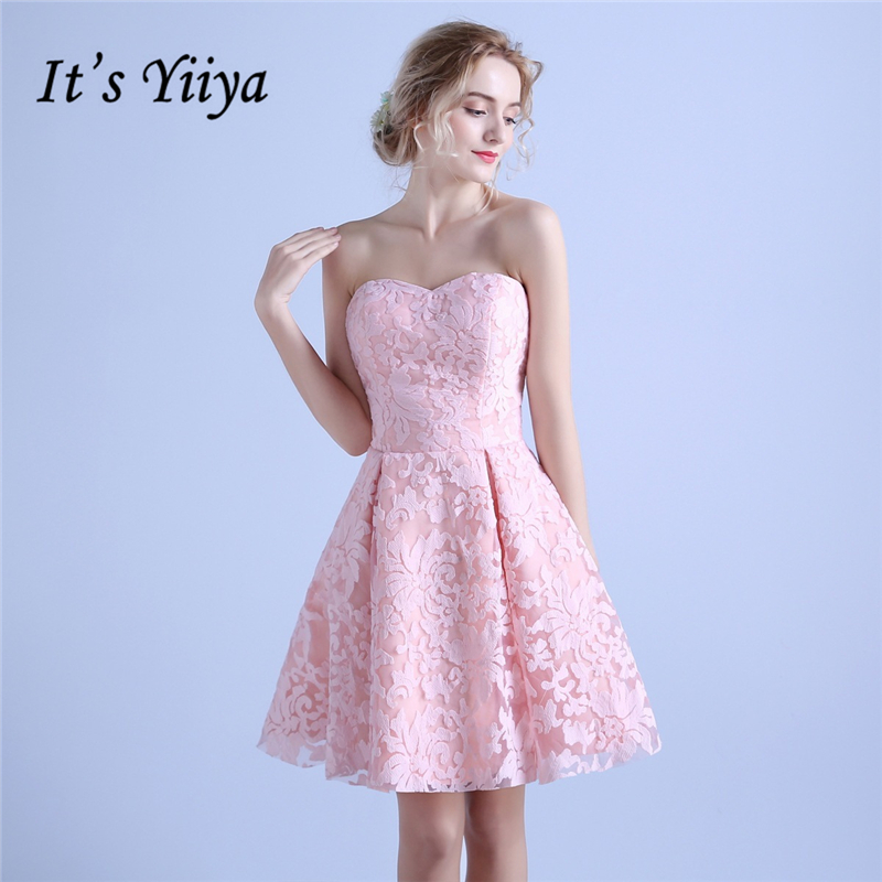 It's YiiYa Formal   Dress   Strapless Sleeveless   Bridesmaids     Dresses   Beautiful Lace Up Candy Color Lady Fashion Designer LX713