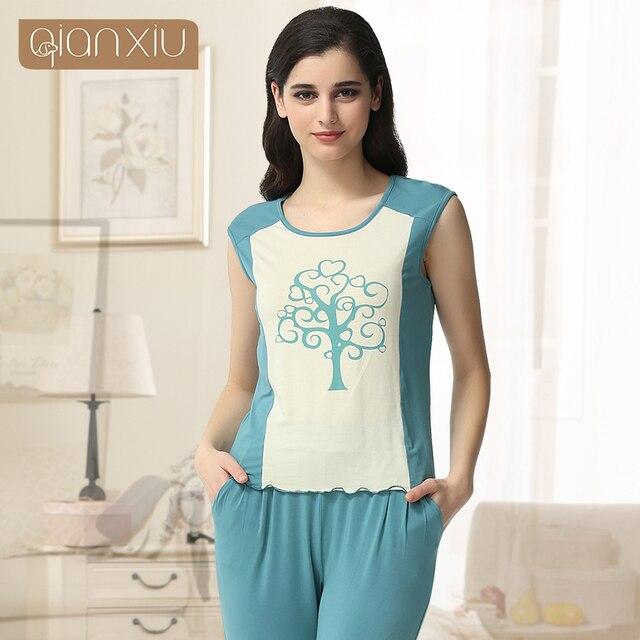 Qianxiu Patchwork Conjunto de Pijama De Las Mujeres Sin Mangas ropa de Dormir de Verano Traje Modal Pijamas mujer