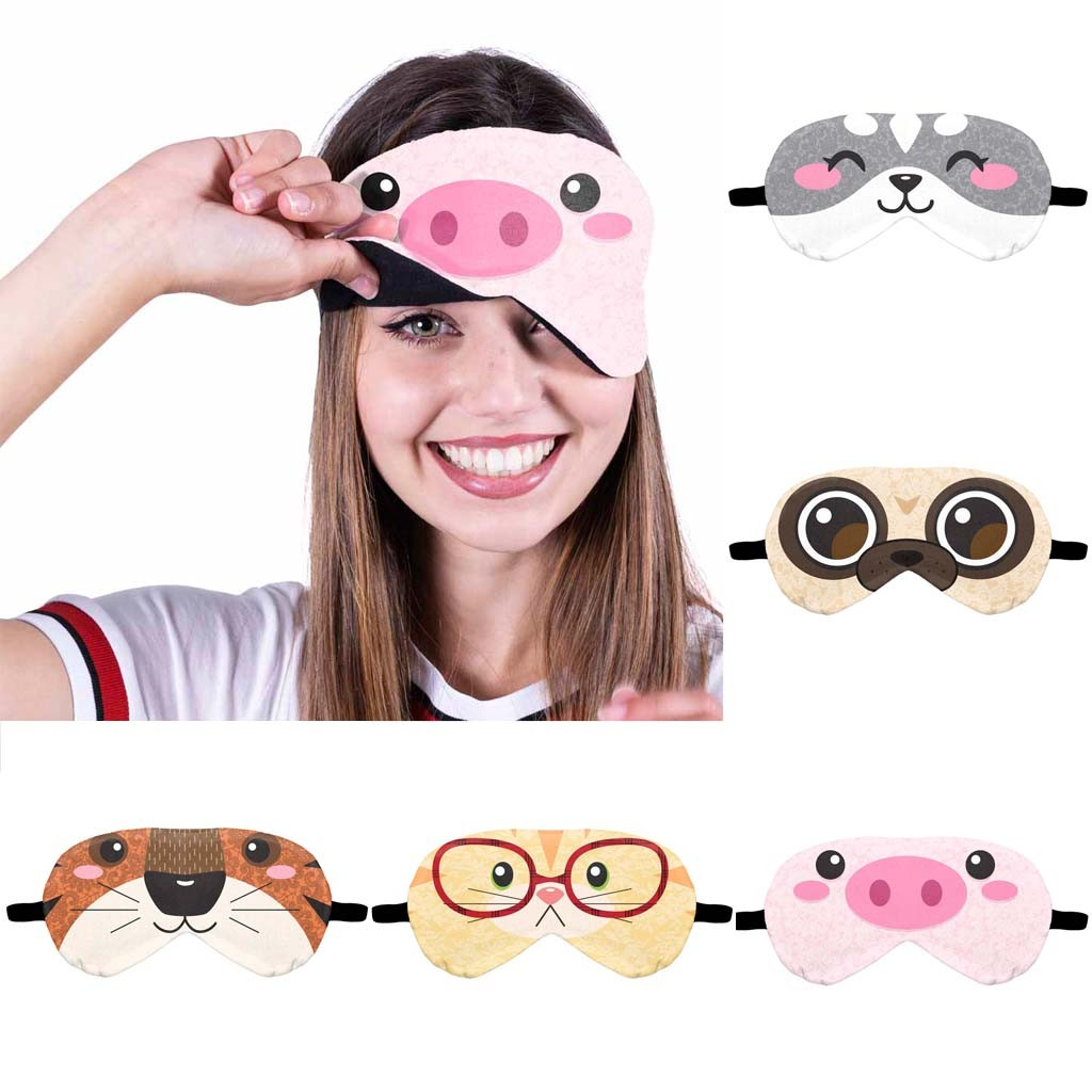 1PC New Cute Cartoon Sleep Eye Mask Padded Shade Cover Travel Relax Aid Sleep Mask Natural Sleeping Eye Mask A0401
