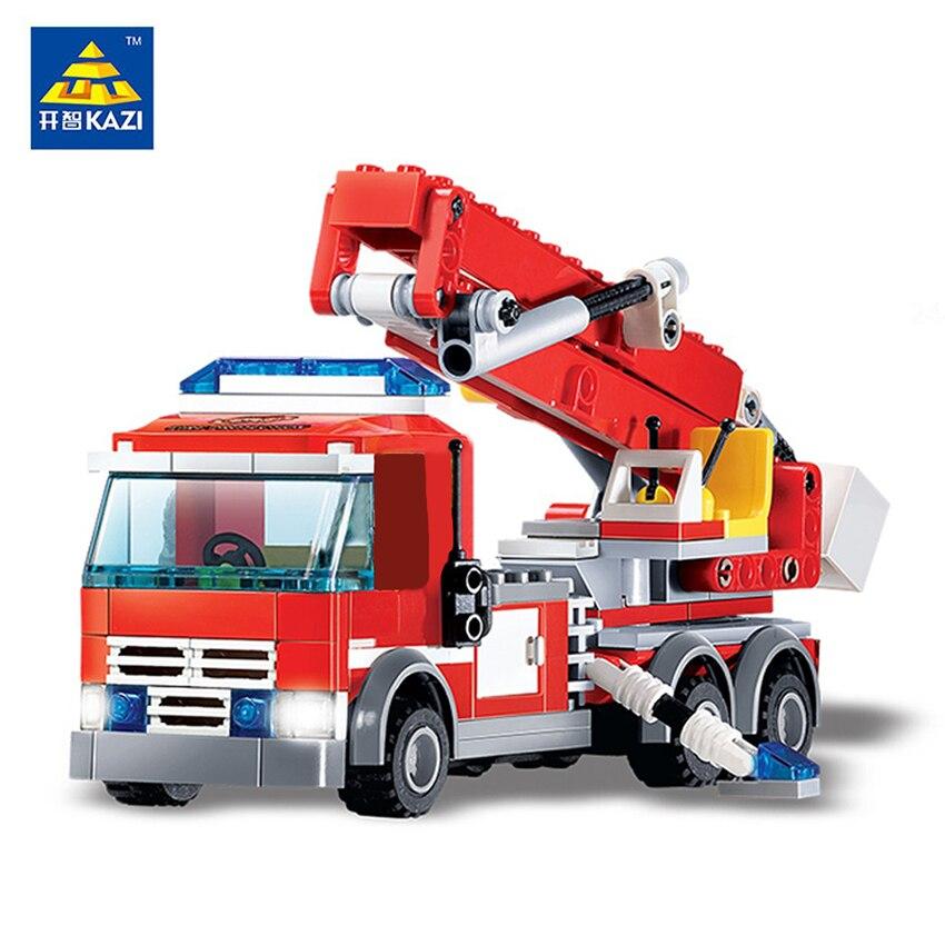 KAZI Blocos de Construção Caminhão de Combate A Incêndio DA CIDADE de Fogo Tijolos Educacionais Brinquedos Bombeiro Bricks DIY Brinquedo de presente de Natal