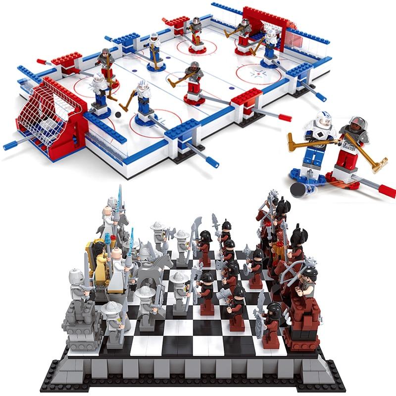Hockey Rink Kingdoms Chess Set Compatible Legoed City Sports Field Plarers Figures Games Buildings Blocks Bricks