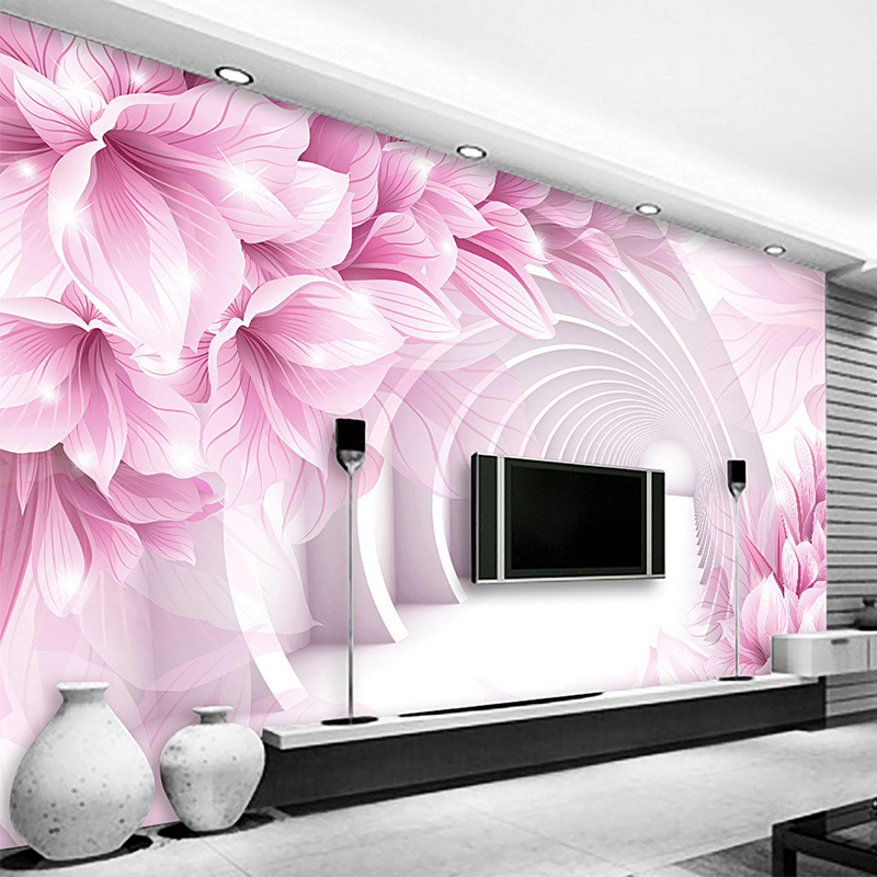 us $9 04 55% off custom 3d mural wallpaper creative modern abstract artistic pink flower white corridor wall mural bedroom tv backdrop wall paper in