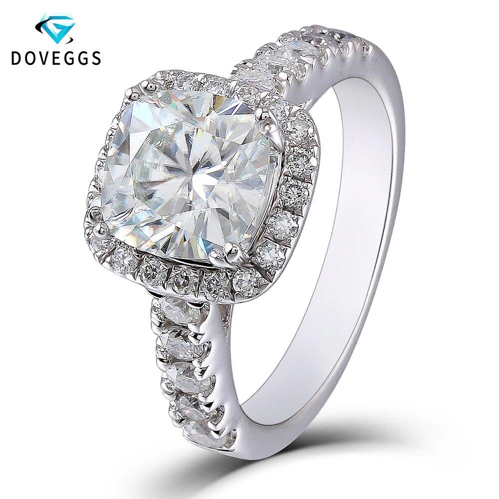DovEggs центр 2 карат ctGH Цвет 7,5 мм Подушка обручальное кольцо кольца для Для женщин Halo Стиль качество стерлингового серебра