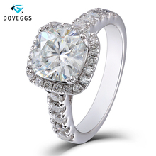 DovEggs Center 2 Carat ctGH Color 7.5mm Cushion Cut Moissanite Engagement Rings For Women Halo Style Quality Sterling Silver