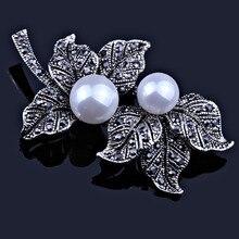 Joyería de Perlas de imitación Negro Pistola Plateado Broches de Plumas para Las Mujeres Bufanda Vestido de Accesorios Vintage Rhinestones broche