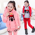 2016 Girls Winter Clothes Sport suit Cartoon Mickey Hoodie Children Clothing Set Warm 3pcs Sweater Suit 2-13 Years Kids Clothes
