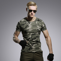 여름 야외 남성 군사 전술 T 셔츠 남성 통기성 헌터 위장