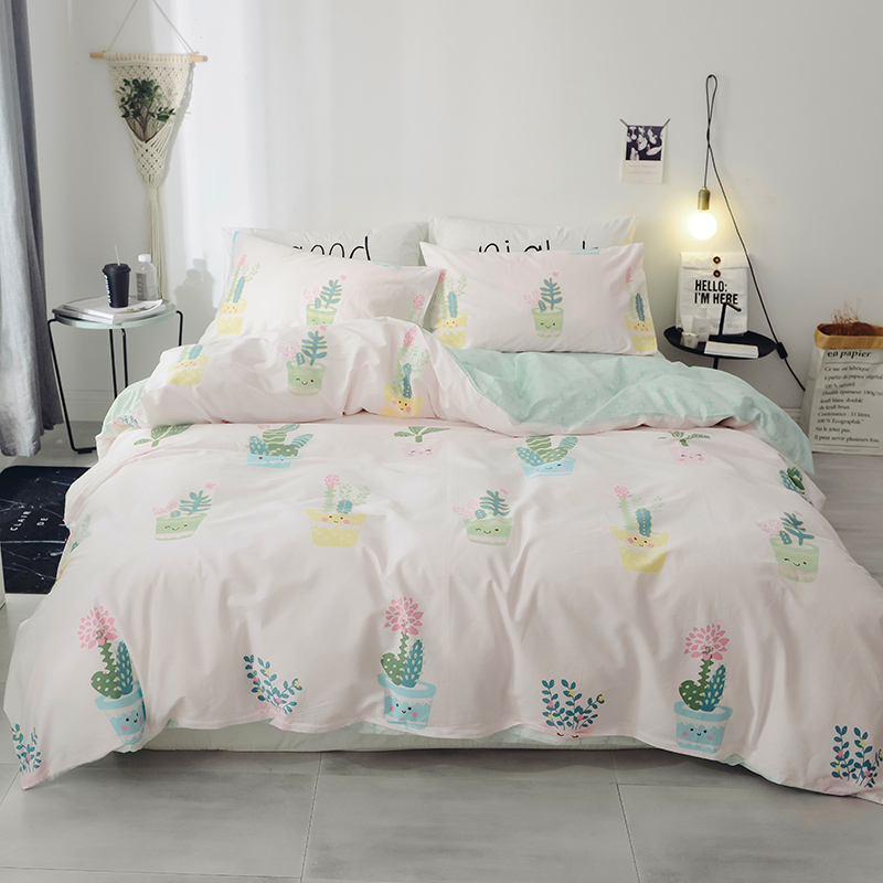 Green Plant Pattern Cotton Soft Bedding Set Queen King Full Size Bed Linen 4Pcs/Set Duvet Cover Set Bed Sheet AB Side 2019 Bed Green Plant Pattern Cotton Soft Bedding Set Queen King Full Size Bed Linen 4Pcs/Set Duvet Cover Set Bed Sheet AB Side 2019 Bed