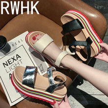 RWHK Sandals female 2019 summer new Korean version of the wild color matching muffin bottom beach shoes Roman B253
