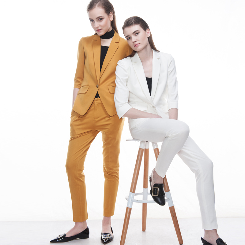 2017 spring summer pink yellow white fashion suit two piece slim fit women hip long sexy office cloth large size tailor made MTM
