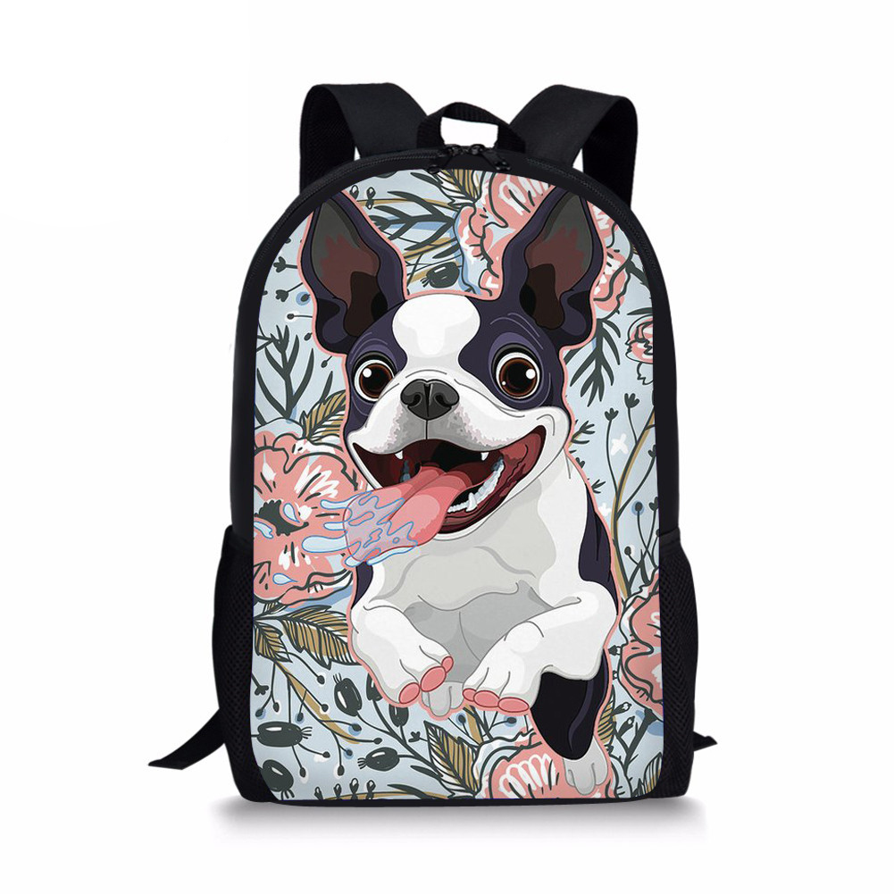 Customized School Backpack Boston Terrier Printed Kawaii For Teenage Girls Backpacks Travel Bags Bagpack Female Sac Rucksack