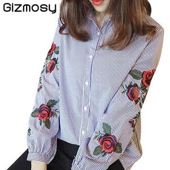 Blusa bordada a rayas con flores rosas, camisa de manga larga para mujer, Blusa informal de algodón, Blusa de talla grande, Kimono, Tops, ropa de oficina para mujer BN2686