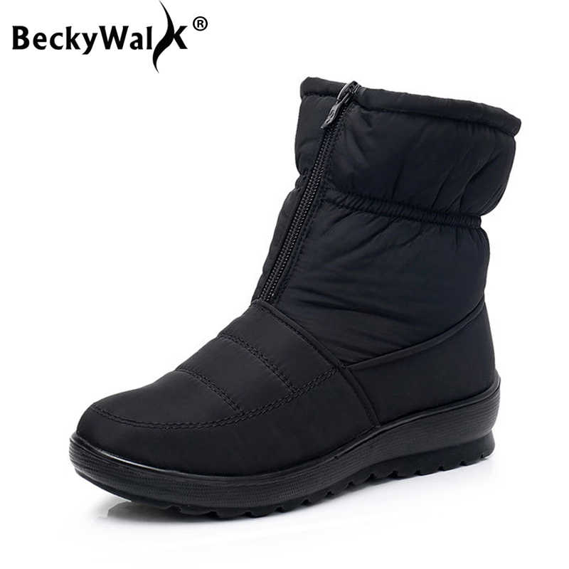Women boots winter shoes women snow boots with zipper plush inside botas mujer waterproof antiskid female booties size41 WSH3146