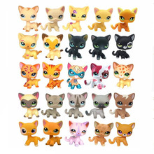 Rare Original LPS Pet Shop Cute Anime Classic Collection Stand Short Hair Cat And Dog Model Action Figure Children Toys Gifts