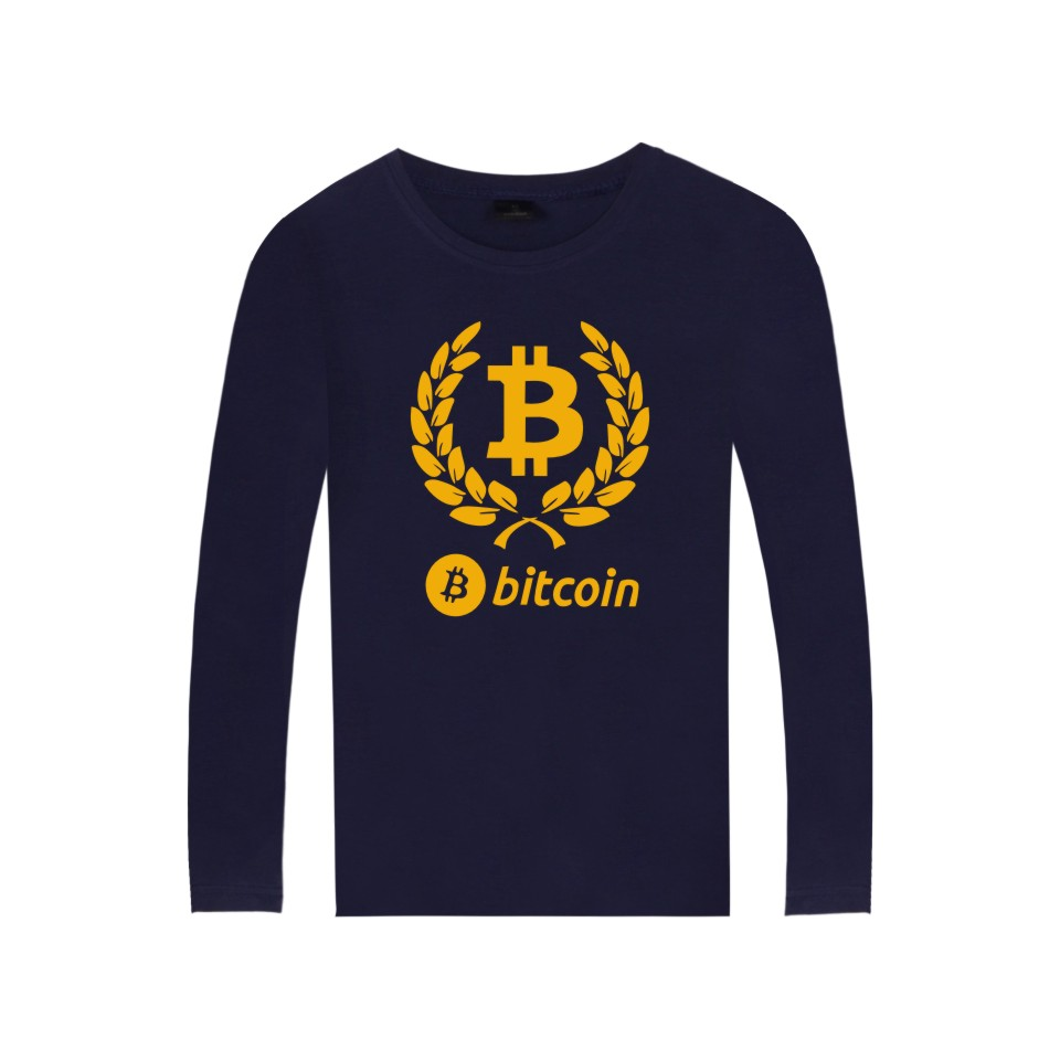Digital currency Bitcoin Logo Cotton T-shirt Tee SHIRT t shirt with Long Sleeve Sleeve Bitcoin Printing Shirts Plus Size 4XL