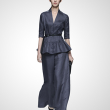 Новое поступление весенние модные тонкие комплекты из двух предметов женская блуза с v-образным вырезом и рукавом средней длины и широкие брюки T1805120-1