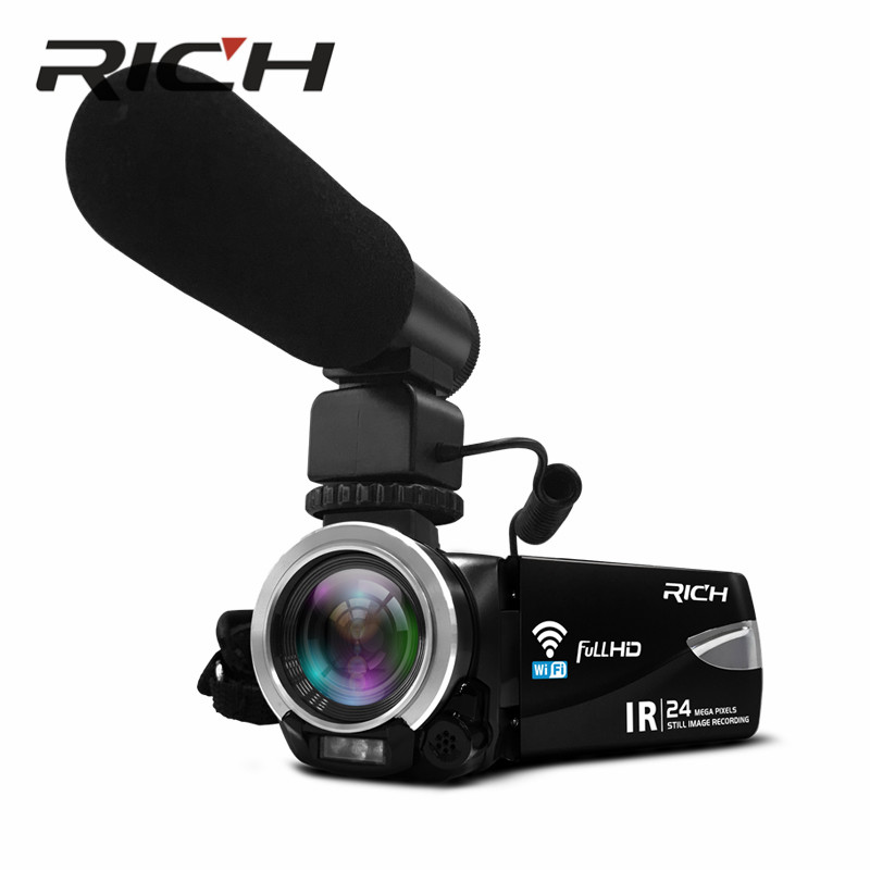 DHL RICH HD camera 800million CMOS 3.0inch with WIFI HD NTSC/PAL Output USB2.0 Infrared remote control, night vision цена 2017